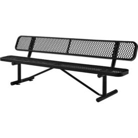 """96""""  Expanded Metal Mesh Bench With Back Rest Black"""