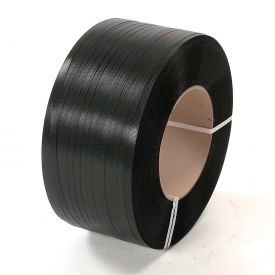 """Polyester Strapping 1/2"""" x .028"""" x 6,500' Black 16"""" x 6"""" Core"""
