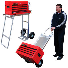 Aluminum Hand Truck with Folding Workbench 500 Lb. Capacity