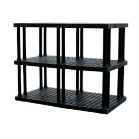 """Structural Plastic Vented Shelving, 66""""W x 36""""D x 51""""H, Black"""