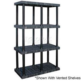 """Structural Plastic Solid Shelving, 48""""W x 24""""D x 75""""H, Black"""