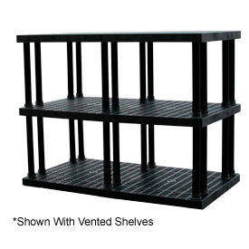 """Structural Plastic Solid Shelving, 66""""W x 36""""D x 51""""H, Black"""