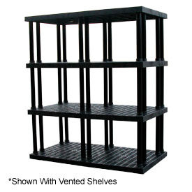 "Structural Plastic Solid Shelving, 66""W x 36""D x 75""H, Black"