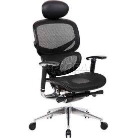 Boss Ergonomic Mesh Back Task Chair with Headrest & Seat Slider - High Back - Black