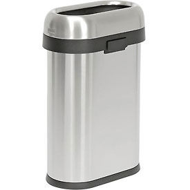 simplehuman® Slim Oval Open Top Can - 13 Gallon Brushed SS