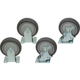 "5"" x 1-1/4"" Jamco Thermorubber Caster Kit, 2 Rigid, 2 Swivel with Brakes"