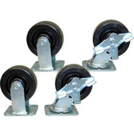 "5"" x 2"" Jamco Phenolic Caster Kit, 2 Rigid, 2 Swivel with Brakes"