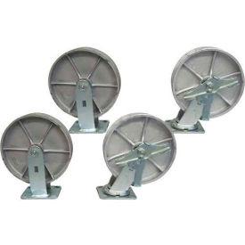"Jamco 8"" x 2"" Steel Caster Kit L8 B8 set, 2 Rigid, 2 Swivel with Brakes"