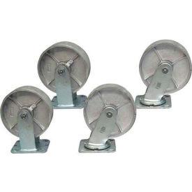 """Jamco 5"""" x 1-1/4"""" Steel Caster Kit L5 set, 2 Rigid, 2 Swivel"""