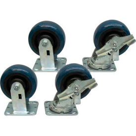 "5"" x 2"" Jamco Urethane Caster Kit, 2 Rigid, 2 Swivel with Brakes"