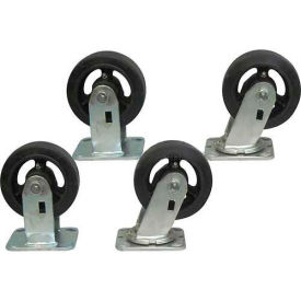 "5"" x 2"" Jamco Mold-on Rubber Caster Kit, 2 Rigid, 2 Swivel"