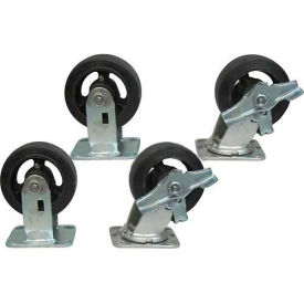 """Jamco 5"""" x 2"""" Mold-on Rubber Caster Kit R7 B7 set, 2 Rigid, 2 Swivel with Brakes"""