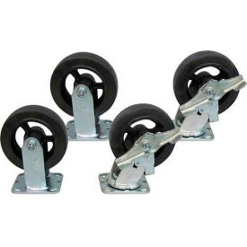 "Jamco 6"" x 2"" Mold-on Rubber Caster Kit R6 B6 set, 2 Rigid, 2 Swivel with Brakes"