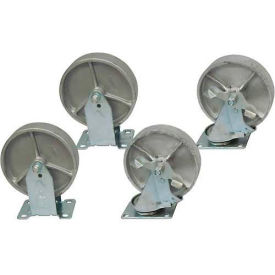 "6"" x 2"" Jamco Steel Caster Kit, 2 Rigid, 2 Swivel with Brakes"