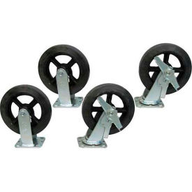 """Jamco 8"""" x 2"""" Mold-on Rubber Caster Kit R8 B8 set, 2 Rigid, 2 Swivel with Brakes"""