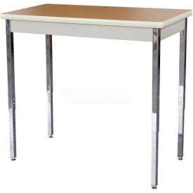 "Utility Table 40"" W x 20"" D x 24 - 36"" H Putty with Oak Top"