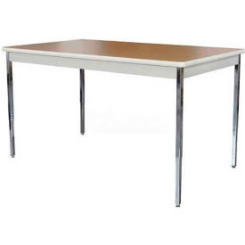 """Utility Table 60"""" W x 30"""" D x 24 - 36""""H Putty with Oak Top"""