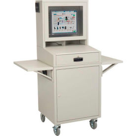 Computer Furniture Cabinets Global 8482 Mobile Security Lcd Cabinet Enclosure Complete Bundle Gray 239115cgy