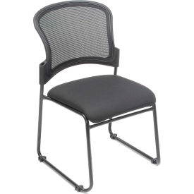 Interion™ - Mesh Back Stacking Chair With Fabric Upholstered Seat - Pkg Qty 4