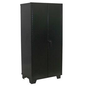 """Jamco Heavy Duty Storage Cabinet DL248-BL - Welded 14 ga. 48""""W x 24""""D x 78""""H, Black"""