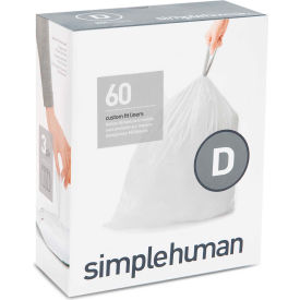 simplehuman® Trash Can Liner Code D - 5 Gallon, 15.8 x 28, 1.18 Mil, White, Pack of 240
