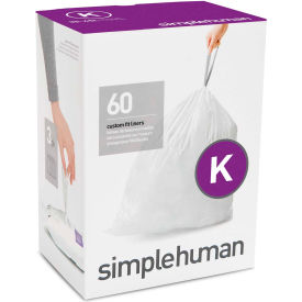 simplehuman® Trash Can Liner Code K - 12 Gallon,  24.4 X 28, 1.18 Mil, White, Pack of 240