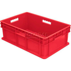 """Akro-Mils Straight Wall Container 37688 Solid Sides & Base 23-3/4""""L x 15-3/4""""W x 8-1/4""""H,Red - Pkg Qty 4"""