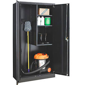 Global™ Janitorial Cabinet Easy Assembly 36x18x72 Black