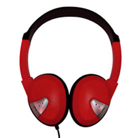 Headphones with Vinyl Earpads and Adjustable Headband Red