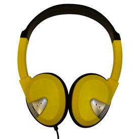 Headphones with Vinyl Earpads and Adjustable Headband Yellow