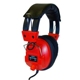 Stereo/Mono Headphones with Plug Adaptor & Volume Control Red