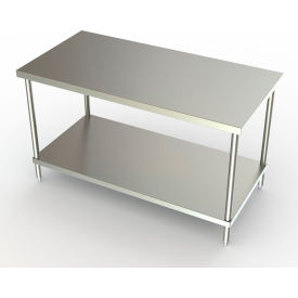 """Aero Manufacturing 3TS-3060-ADJ 60""""W x 30""""D Adjustable Height Stainless Steel Work Bench"""