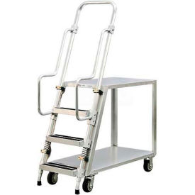 New Age 99640 Aluminum Step Ladder, Stock Picker Cart 2 Flat Shelves