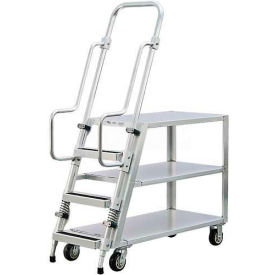 New Age 99555 Aluminum Step Ladder, Stock Picker Cart 3 Flat Shelves