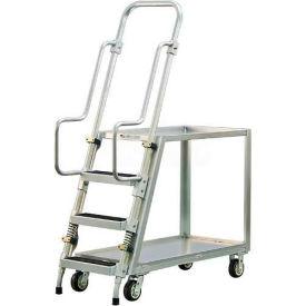 New Age 50060 Aluminum Step Ladder, Stock Picker Cart 2 Tray Shelves