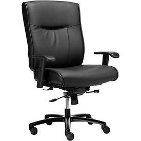 Big and Tall Office Chair - Leather - High Back - Black
