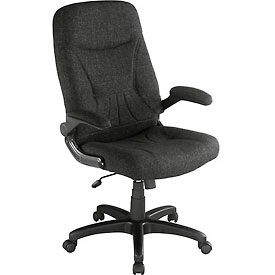 Executive Chair With Flip-Up Armrests Black Fabric Upholstered