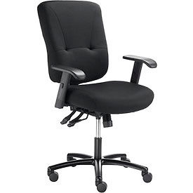 Multifunctional Big And Tall Office Chair - Fabric - Black
