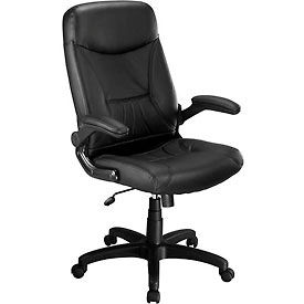 Executive Leather Chair With Flip-Up Armrests - Black