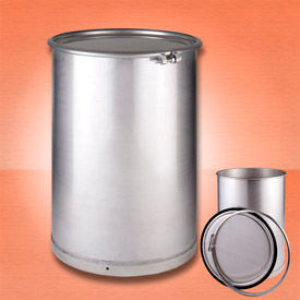 Skolnik IP55TO-CR Open Head Stainless Steel Seamless 55 Gallon Drum with Lid