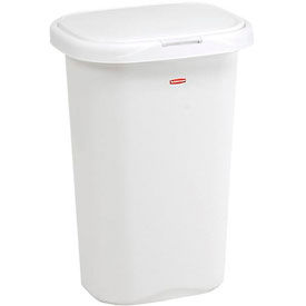 Rubbermaid® Liner Lock™ Spring Top™ Wastebasket 5L58 52 Qt, White
