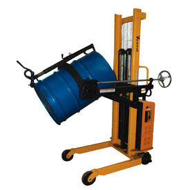 "Vestil Portable Drum Lifter-Positioner 63"" 12V DC Lift Manual Rotate Clamp Cradle DRUM-LRT-DC"
