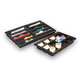 "Thermoformed Plastic Parts Tray, 23"" X 14"" X 2"", 20 Compartments, Black"