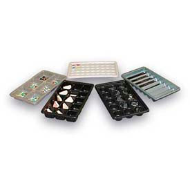 "Thermoformed Plastic Parts Tray, 14-1/2"" X 9"" X 2"", 15 Large Compartments, Black"