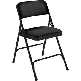 "National Public Seating Steel Folding Chair - 1-1/4"" Fabric Seat - Double Brace - Black - Pkg Qty 4"