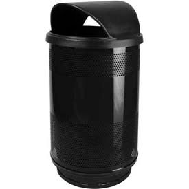 Perforated Stadium Series® Trash Container w/Hood Top - 55 Gallon Black