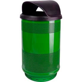 Perforated Stadium Series® Trash Container w/ Hood Top - 55 Gallon Green