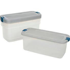 Rubbermaid 1785786 Roughneck Clear Tote 95 Quart Steel Lid Blue Latch - Pkg Qty 4