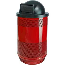 Perforated Stadium Series® Trash Container w/Dome Top - 55 Gallon Red