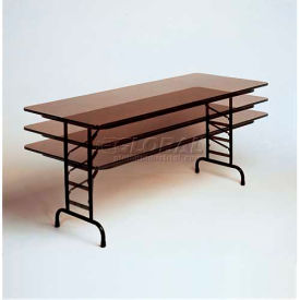"Correll Adjustable Height Melamine Top Folding Table, 24"" x 48"", Walnut"